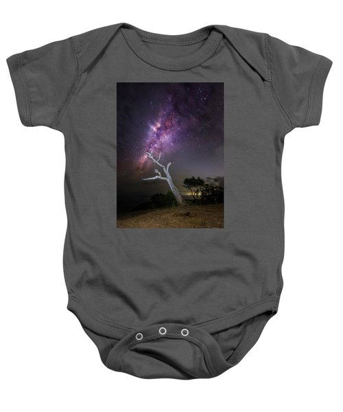 Striking Milkyway Over A Lone Tree Baby Onesie