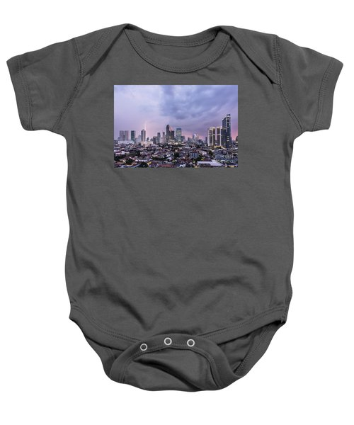 Stunning Sunset Over Jakarta, Indonesia Capital City Baby Onesie