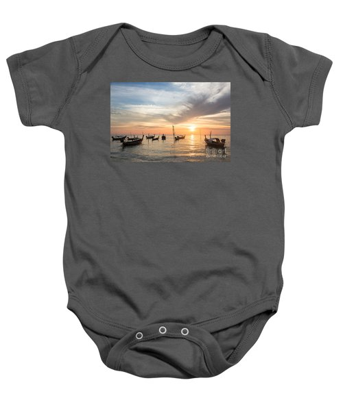 Stunning Sunset Over Wooden Boats In Koh Lanta In Thailand Baby Onesie