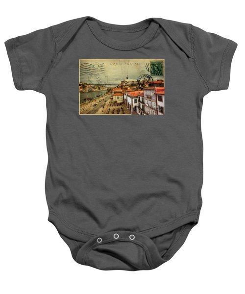 stylish retro postcard of Porto Baby Onesie