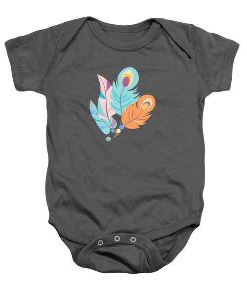 Stylized Peacock Feather Design Baby Onesie
