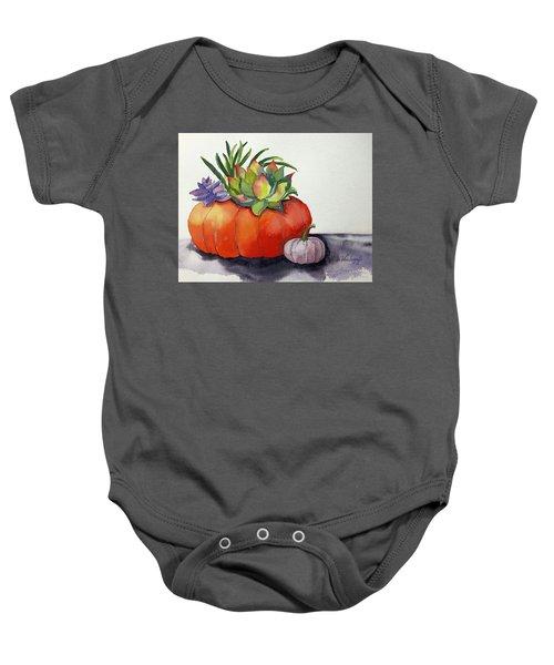 Succulents In Pumpkin Baby Onesie