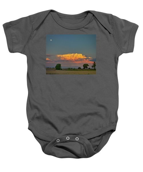 Baby Onesie featuring the photograph Summer Night Storms Brewing And Moon Above by James BO Insogna