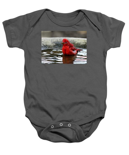Summer Tanager In Bird Bath Baby Onesie
