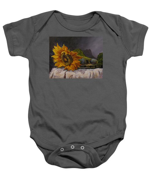 Sunflower And Book Baby Onesie
