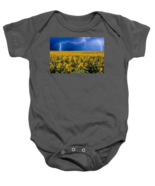 Baby Onesie featuring the photograph Sunflower Lightning Field  by James BO  Insogna