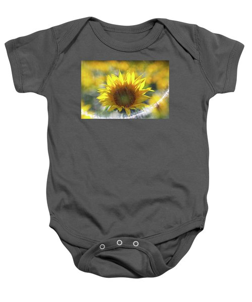 Sunflower With Lens Flare Baby Onesie