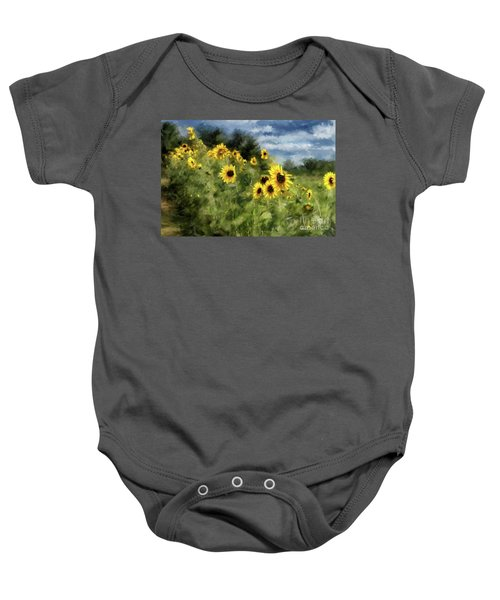 Sunflowers Bowing And Waving Baby Onesie