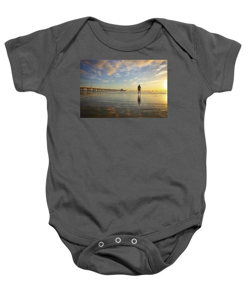 Sunrise Silhouette Down By The Pier. Baby Onesie