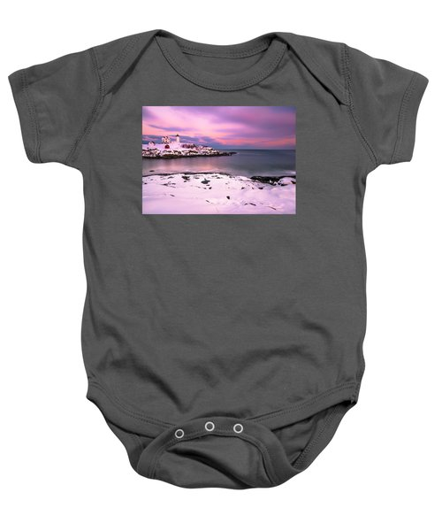 Sunset At Nubble Lighthouse In Maine In Winter Snow Baby Onesie