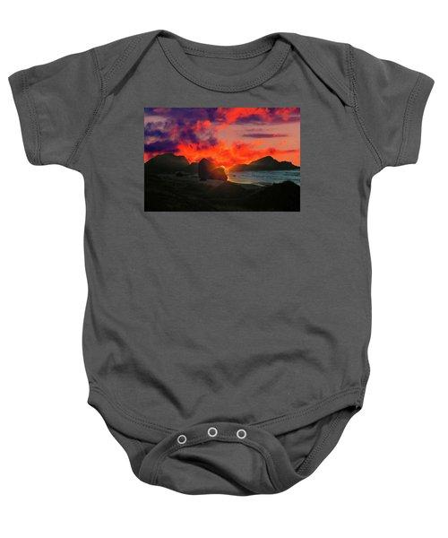 Sunset At Oregon Beach Baby Onesie