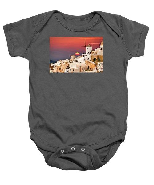 sunset at Santorini Baby Onesie