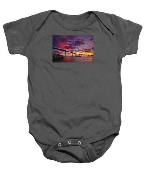 Sunset Crossing At The Coronado Bridge Baby Onesie