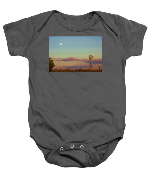Sunset Moonrise With Windmill  Baby Onesie
