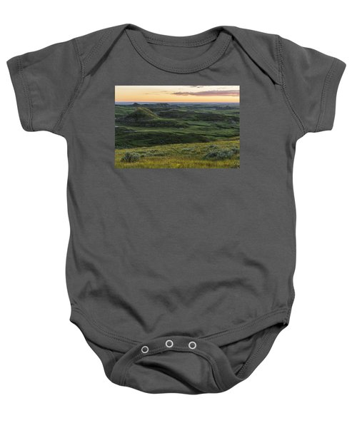 Sunset Over Killdeer Badlands Baby Onesie by Robert Postma