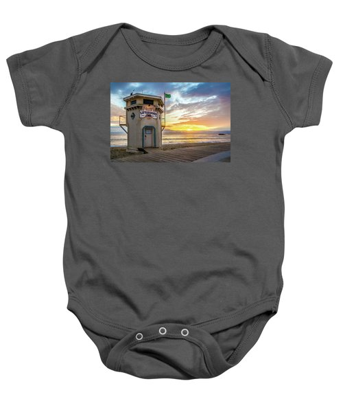 Sunset Over Laguna Beach Lifeguard Station Baby Onesie
