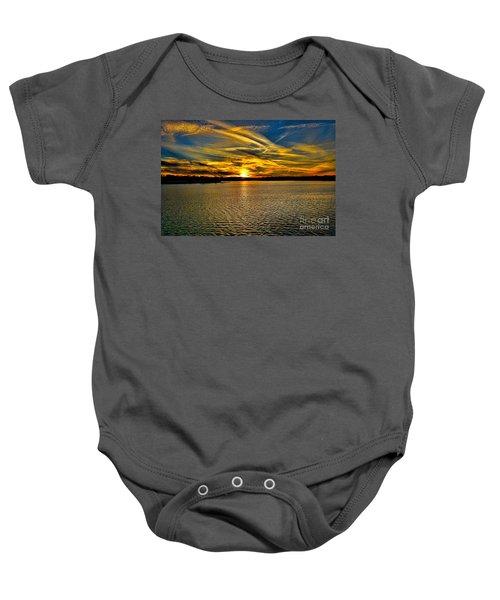 Sunset Over Lake Palestine Baby Onesie