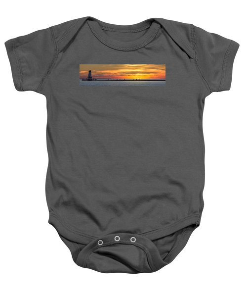 Baby Onesie featuring the photograph Sunset Over Ludington Panoramic by Adam Romanowicz