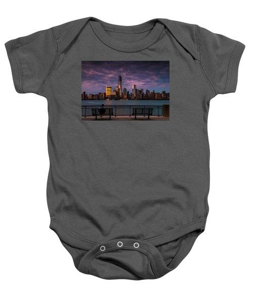 Sunset Over New World Trade Center New York City Baby Onesie