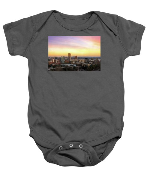 Sunset Over Portland Cityscape And Mt Hood Baby Onesie