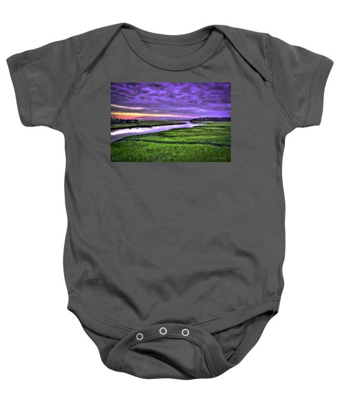 Sunset Over Turners Creek Savannah Tybee Island Ga Baby Onesie