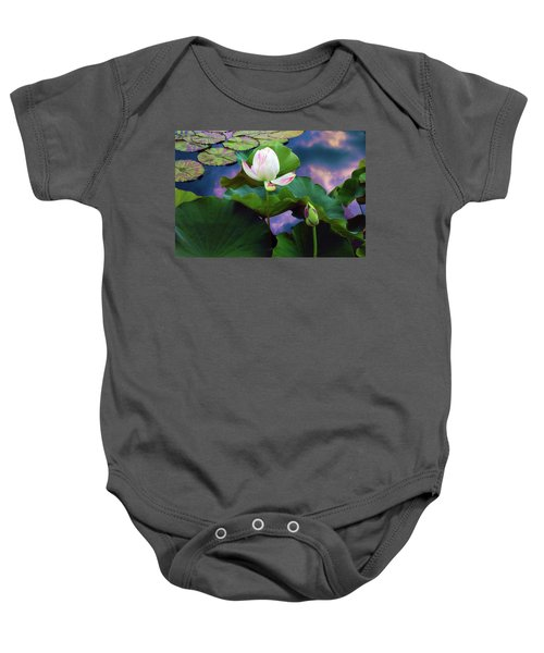Sunset Pond Lotus Baby Onesie