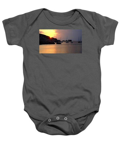 Sunset Sailing Boats Baby Onesie