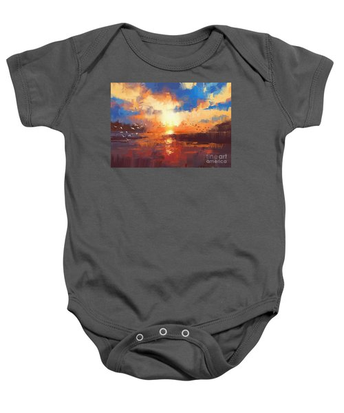 Baby Onesie featuring the painting Sunset by Tithi Luadthong