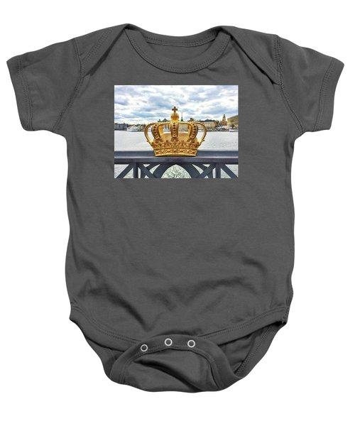 Swedish Royal Crown On A Bridge In Stockholm Baby Onesie by GoodMood Art