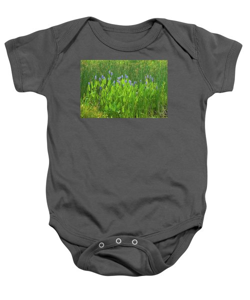 Tall Purple And Blue Blooming Flowers Baby Onesie