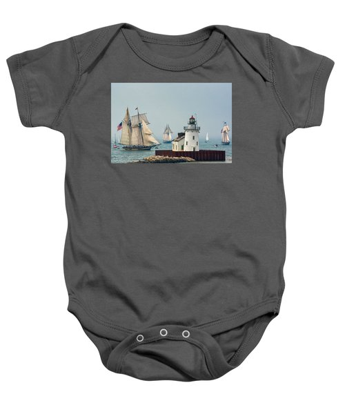 Tall Ships At Cleveland Lighthouse Baby Onesie