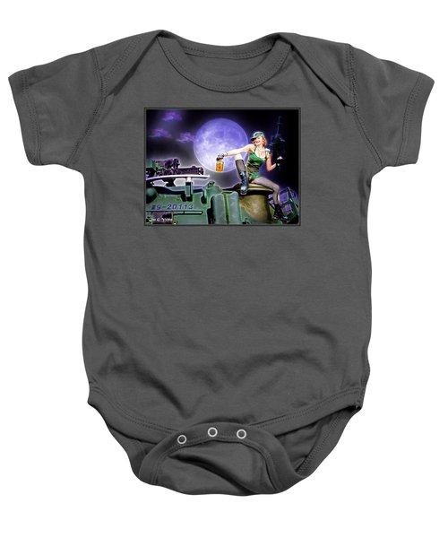 Tank Gal Preparing For Battle Baby Onesie