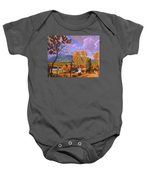 Taos Red Roofs Baby Onesie