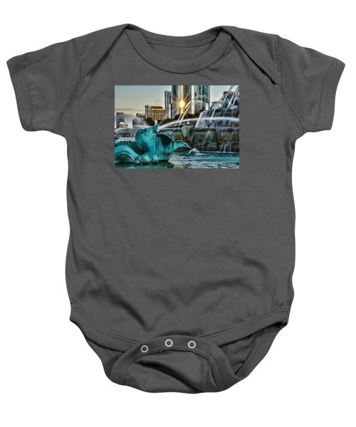 telephoto look at Chicago's Buckingham Fountain  Baby Onesie