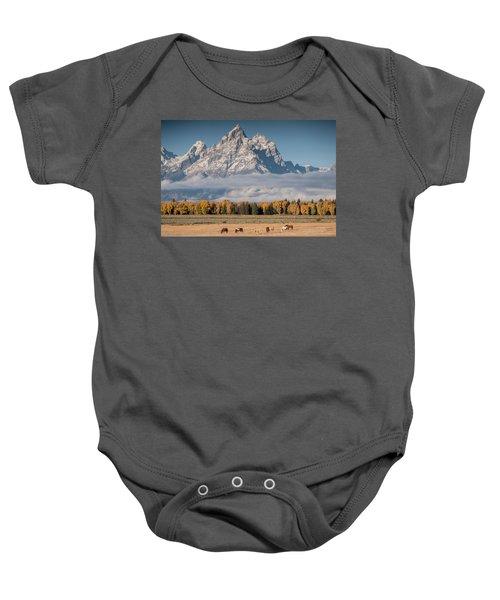Teton Horses Baby Onesie
