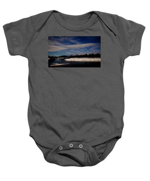 Tetons At Moonlight Baby Onesie