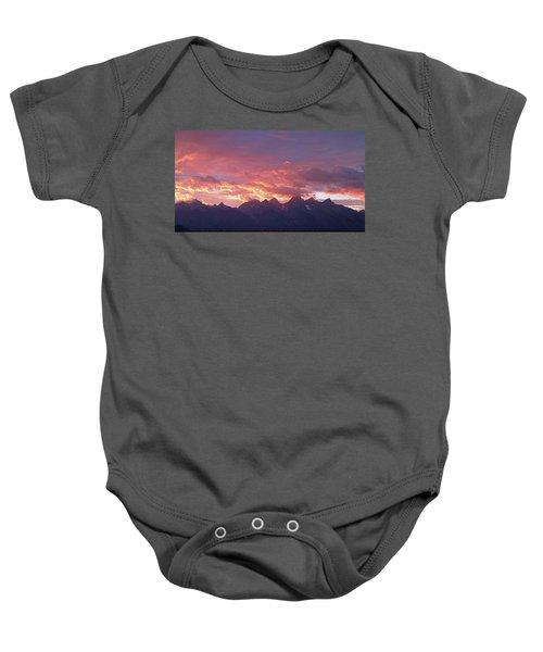 Tetons Sunset Baby Onesie
