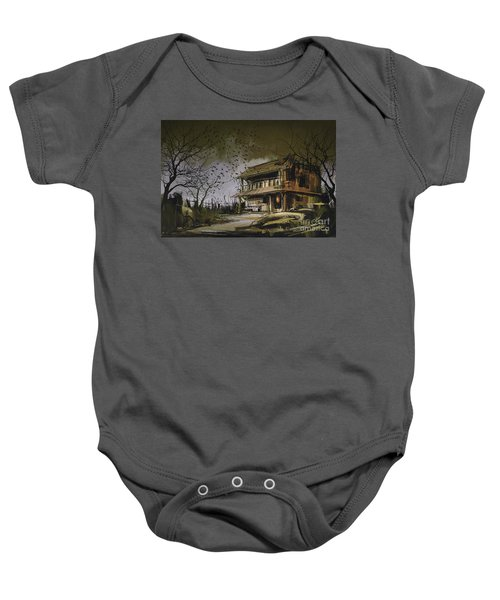 Baby Onesie featuring the painting The Abandoned House by Tithi Luadthong