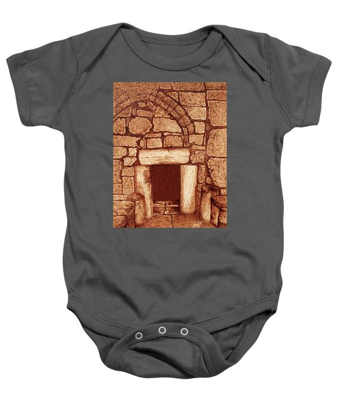 Baby Onesie featuring the painting The Door Of Humility At The Church Of The Nativity Bethlehem by Georgeta Blanaru