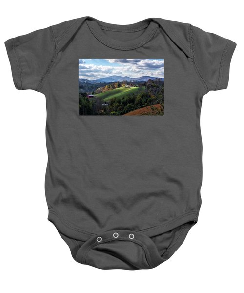 The Farm On The Hill Baby Onesie