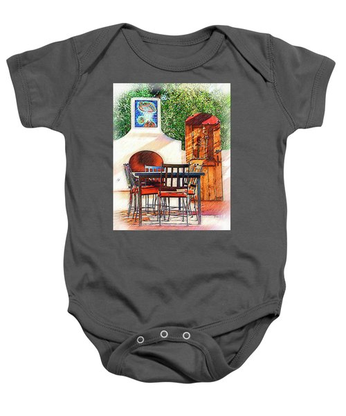 The Fireplace, Table And Door Baby Onesie