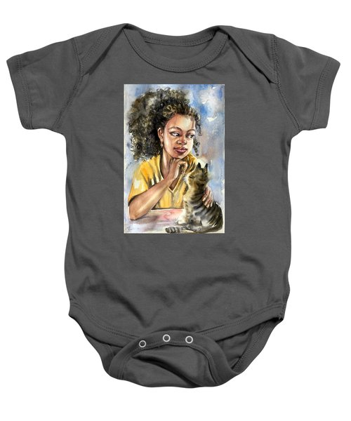 The Girl With A Cat Baby Onesie
