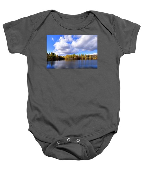 Baby Onesie featuring the photograph The Golden Forest At Woodcraft by David Patterson