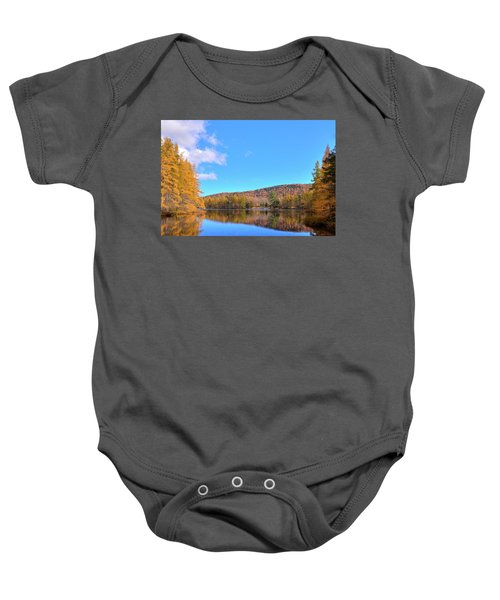 Baby Onesie featuring the photograph The Golden Tamaracks Of Woodcraft Camp by David Patterson