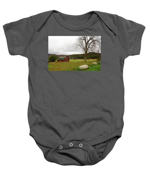 The Old Barn With Tree Baby Onesie