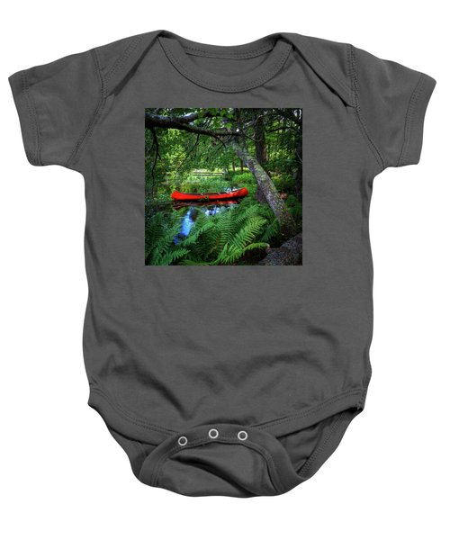 The Red Canoe On The Lake Baby Onesie