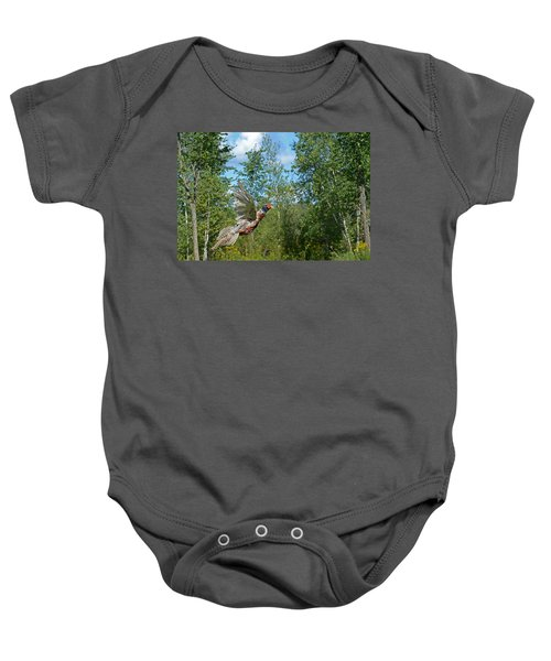 The Ring-necked Pheasant In Take-off Flight Baby Onesie