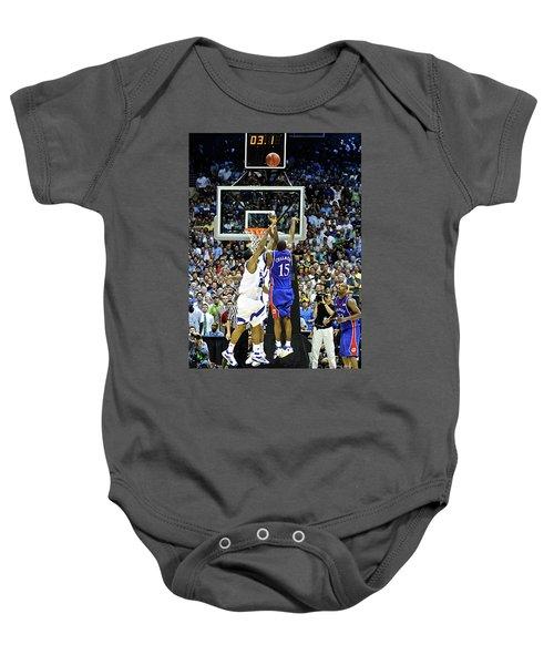 The Shot, 3.1 Seconds, Mario Chalmers Magic, Kansas Basketball 2008 Ncaa Championship Baby Onesie by Thomas Pollart
