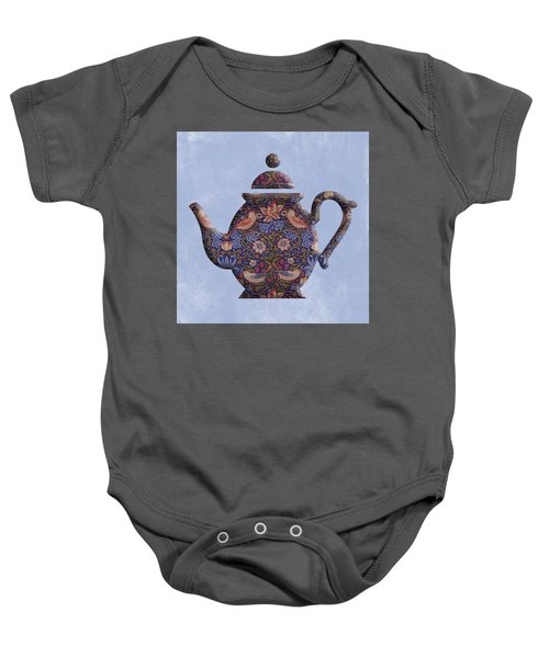 The Strawberry Thief Pattern Teapot Baby Onesie