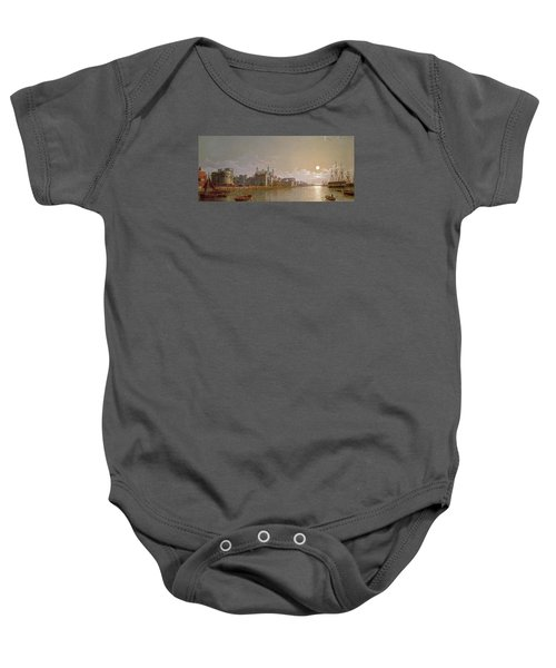 The Thames By Moonlight With Traitors' Gate And The Tower Of London Baby Onesie by Henry Pether